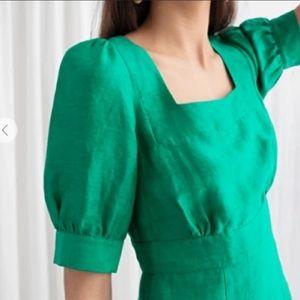 & Other Stories Linen Blend Puff Sleeve Dress 12